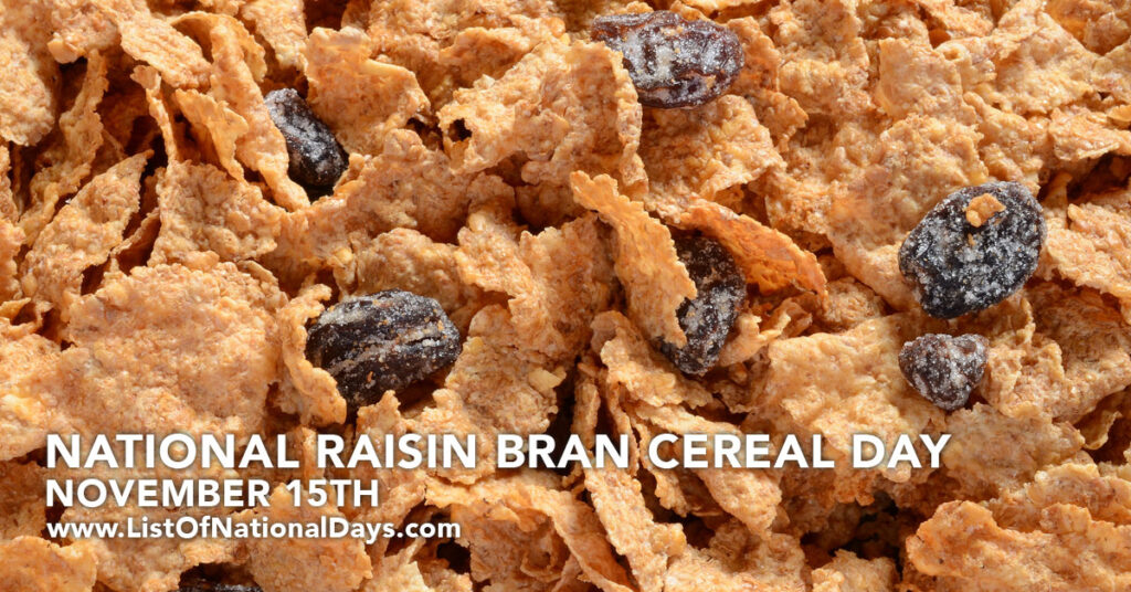 A close up of a bowl of raisin bran cereal.