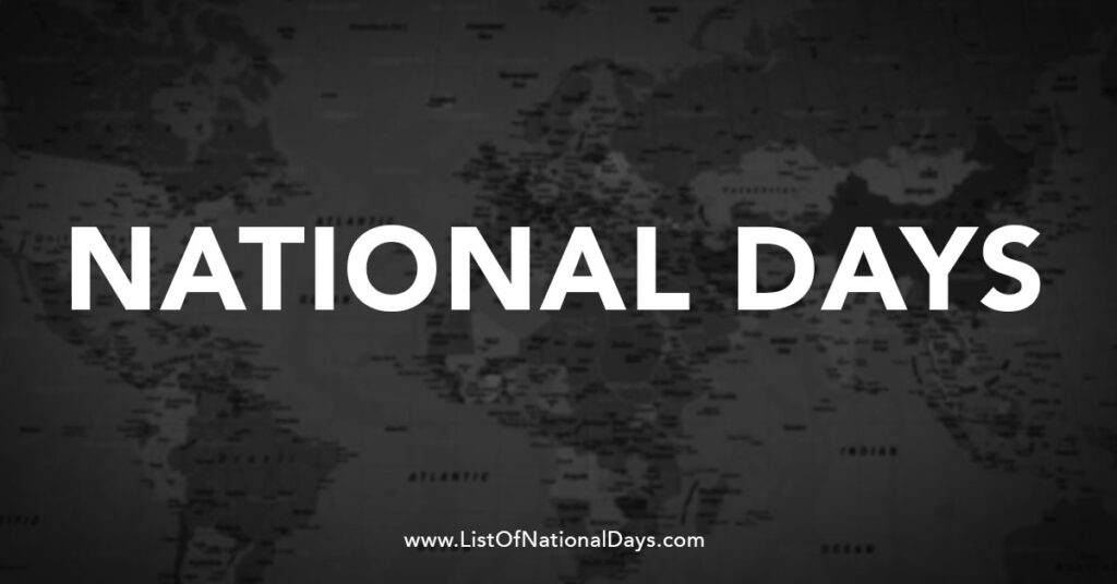 National Days over a black and white world map.