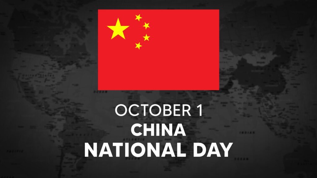 China's National Day is October 1st.
